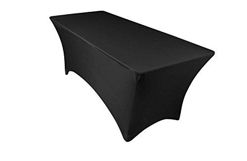 6 Ft Rectangular Stretch Tablecloth Black Spandex Tight
