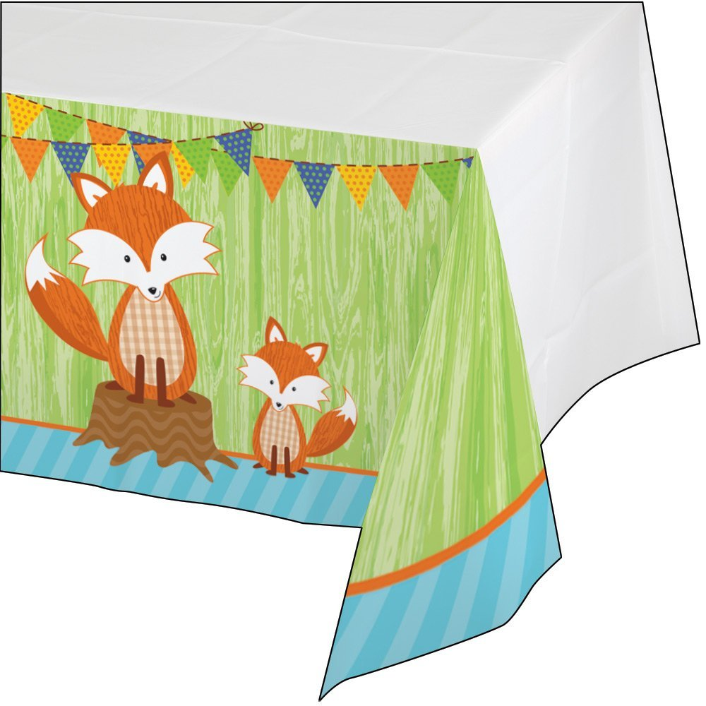 Creative Converting Forest Fox Border Print Plastic Table Cover 54