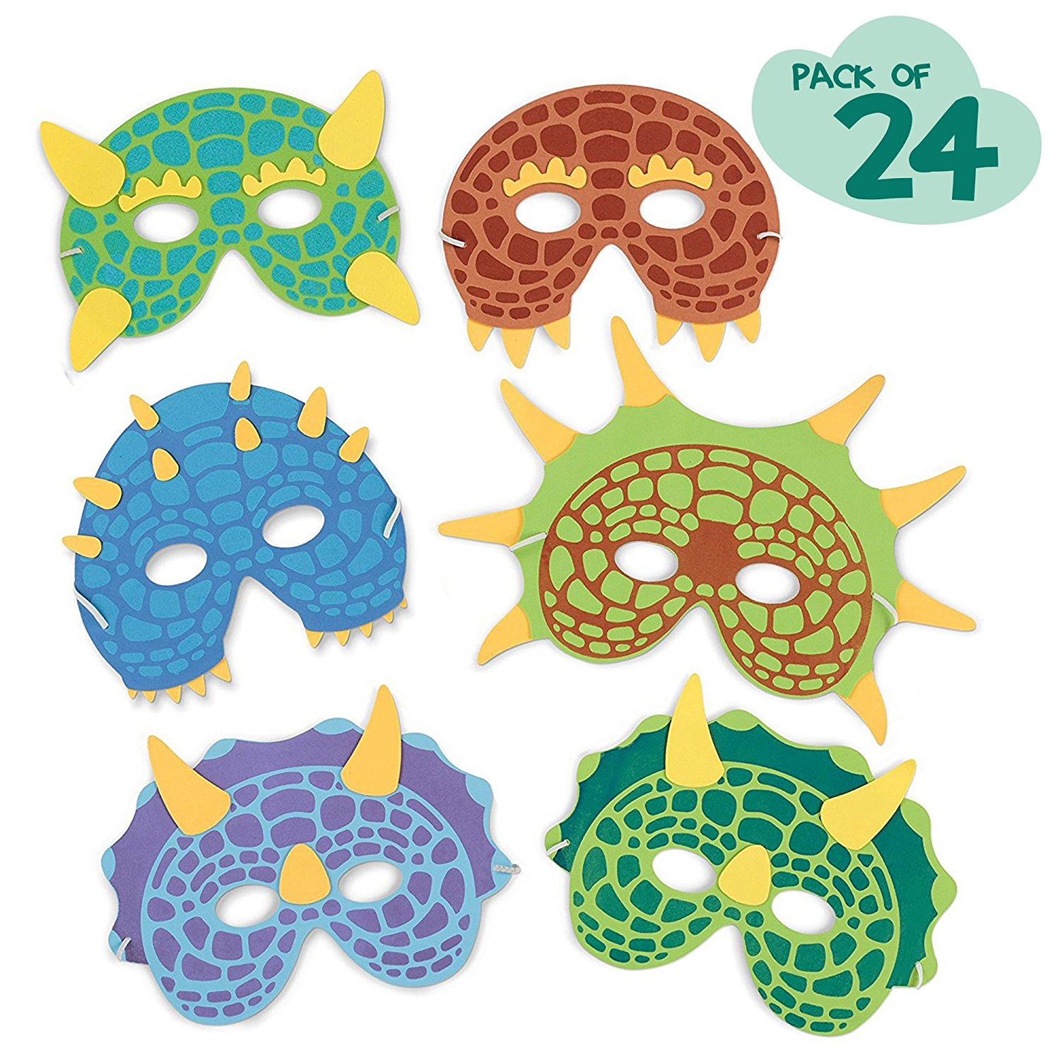 Dinosaur birthday party supplies 24 dinosaur party masks for M m halloween decorations