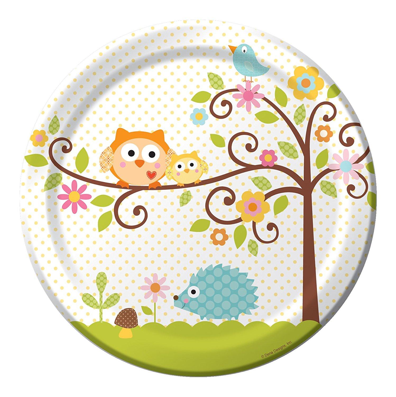 Creative Converting Happi Tree Sweet Baby Round Dinner Plates