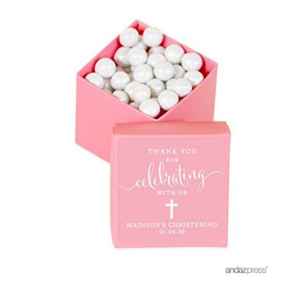 Andaz Press Personalized Mini Square Party Favor Box DIY Kit, Baptism,  Thank You for Celebrating With Us, Pink, 20-Pack, For Religious,  Christening