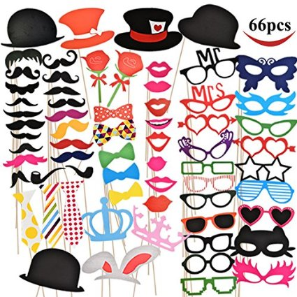 Joyin Toy 66 Pieces Photo Booth Props Party Favor for Wedding Party  Graduation Birthdays Dress-up Accessories Costumes with Mustache ec6a7a3bb9f