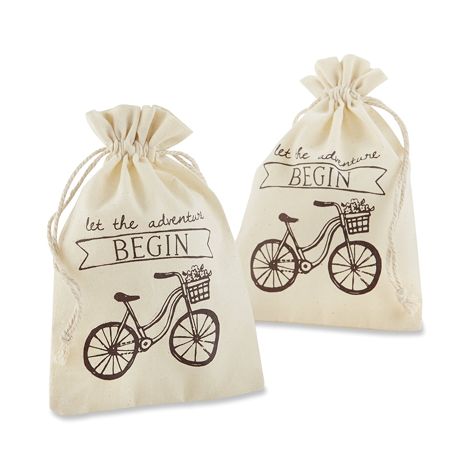 "Kate Aspen ""Let the Adventure Begin"" Muslin Favor Bags, Set of 12 ..."