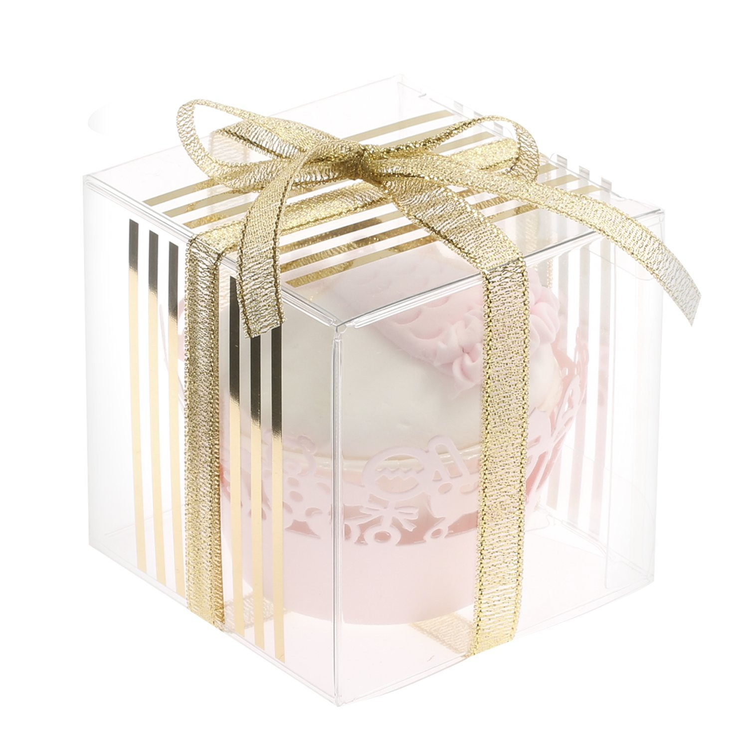 Ling\'s moment 100 pcs 3x3x3 Gold Favor Box, Clear Cake Boxes for ...