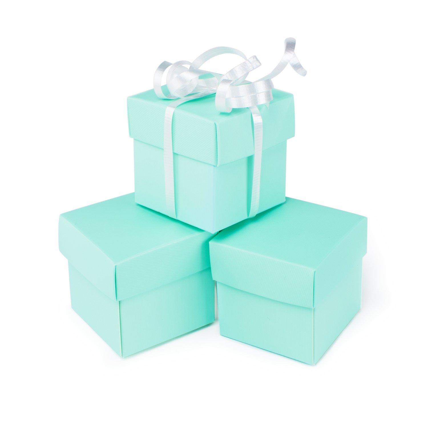 Mini Small Square Cube Robins Egg Blue Gift Boxes with