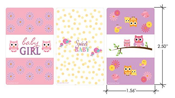 Sweet Baby Girl Owl And Tweet Collection Baby Shower Stickers For