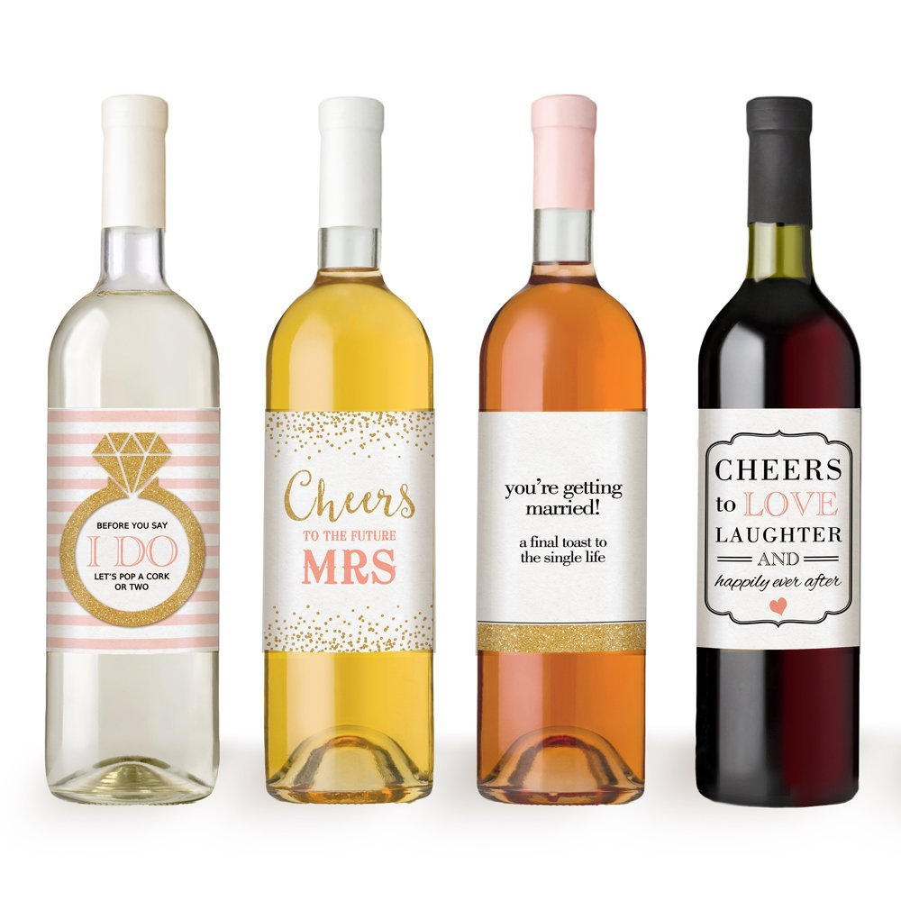 wine bottle labels for engagement party gift bridal shower bachelorette party
