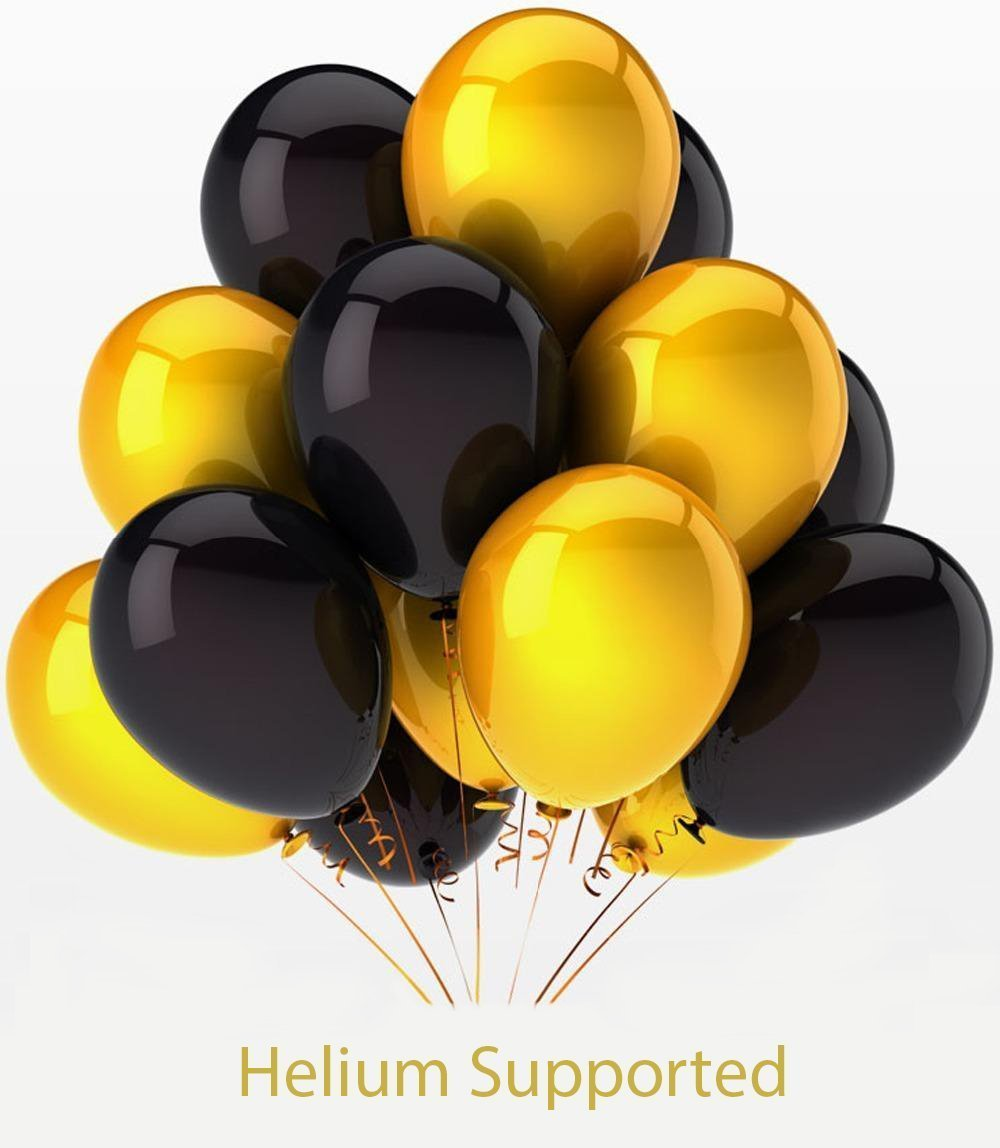 2017 balloons gold decorations banner with black and gold for Balloon banner decoration