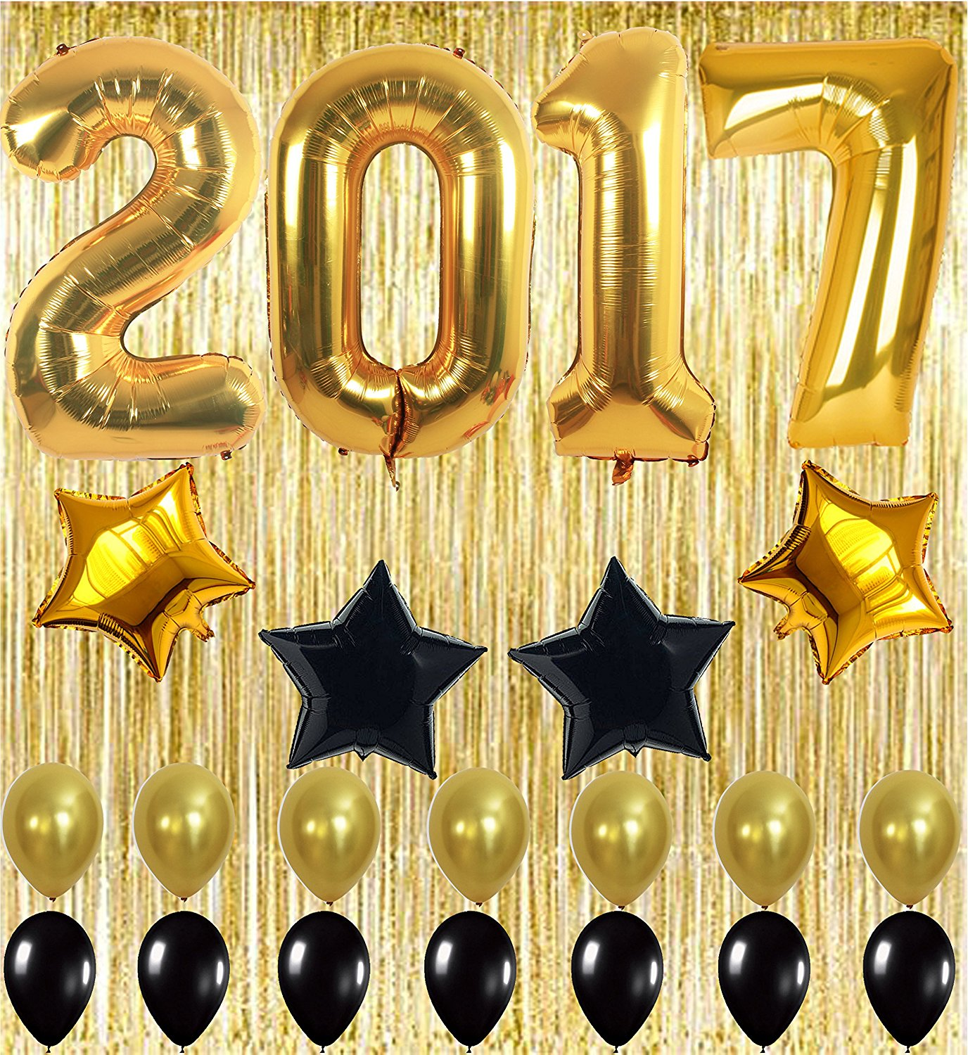 2017 Balloons Gold Decorations Banner with Black and Gold Latex