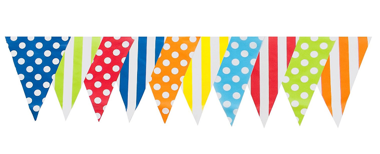 30ft Multi Mix Pennant Flags Banner Birthday Party
