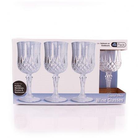 8 oz crystallike hard plastic disposable wine glasses