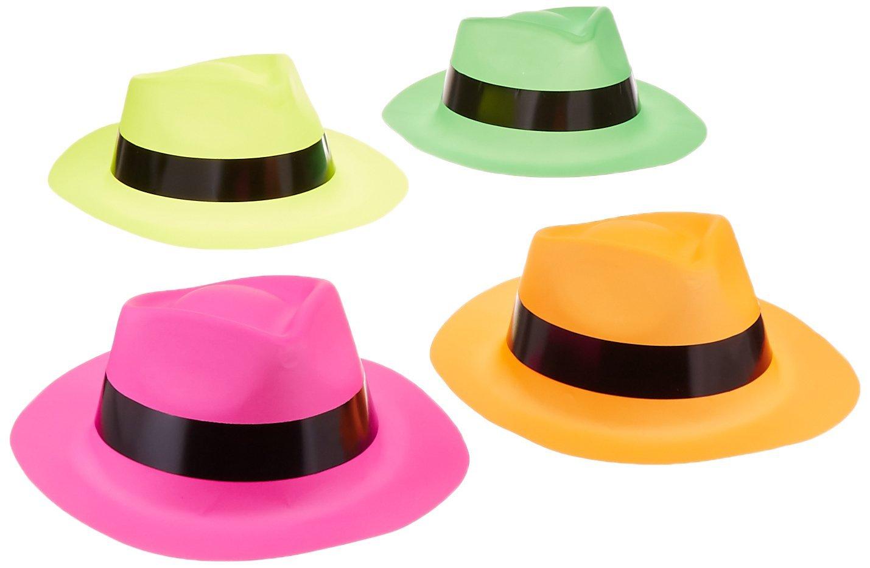 1f0115d389d Adorox (Assorted 12 Hats) Neon Color Plastic Gangster Hats Fedora ...