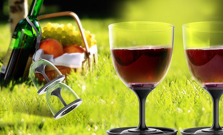 0c478b8e3c5 Asobu StackNGo Unbreakable Wine Glasses,Black, Set of 2