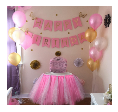 Aytai High Chair Decoration Handmade 39 Tulle Table Skirt Glitter Baby 1st Birthday Party Supplies Cute Shower Pink