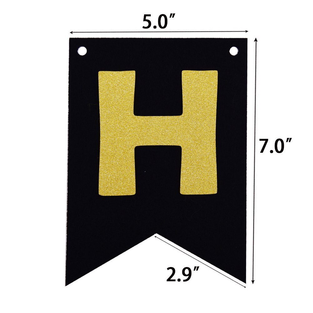 Black Happy Birthday Decorations Party Bunting Banner With Gold Letters 21st