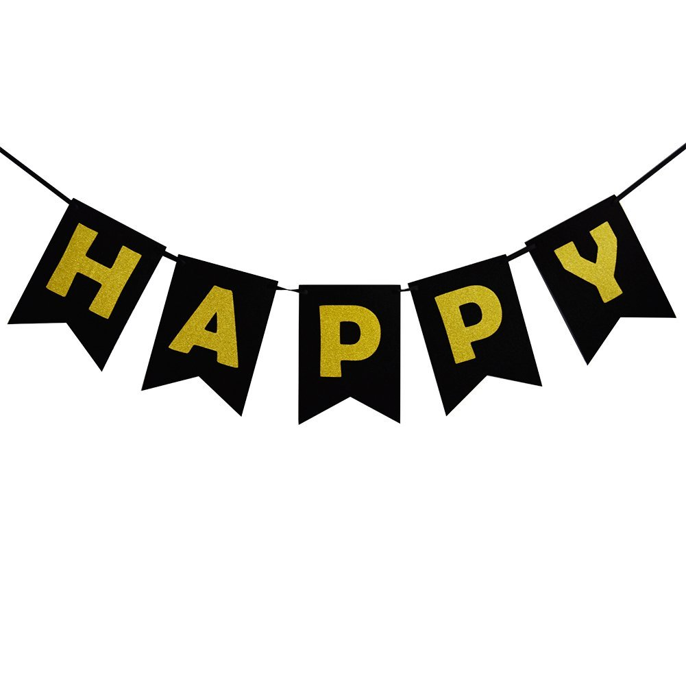 Black Happy Birthday Decorations Party Bunting Banner With