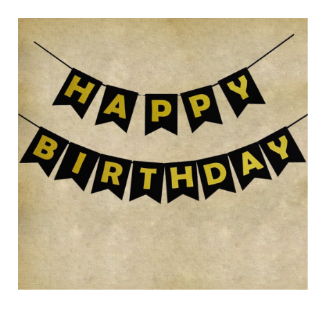 Black Happy Birthday Decorations Party Bunting Banner With Gold Letters 21st 40th 50th