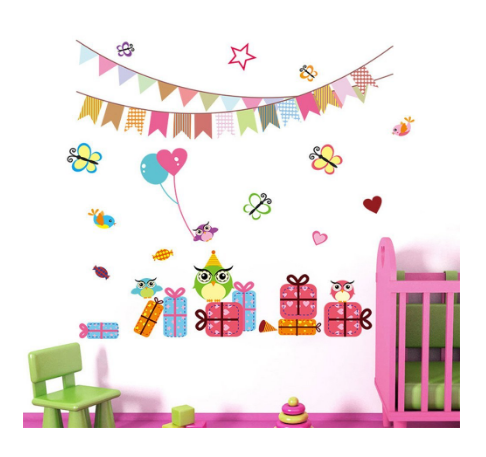 cqi banner owls bees gifts removable birthday party decal vinyl wall