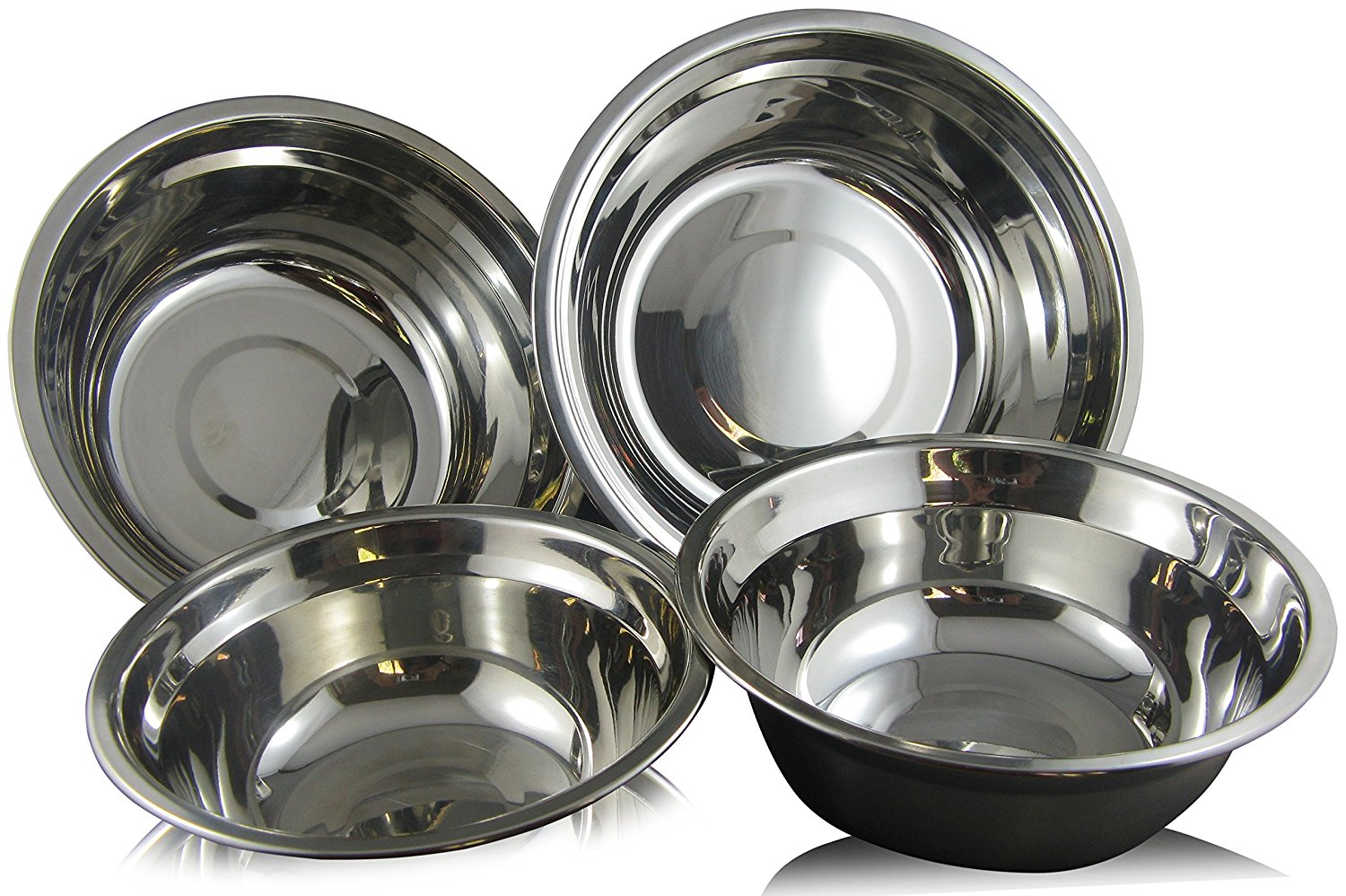 Checkered Chef Stainless Steel Mixing Bowl Set 4 Metal Prep Bowls