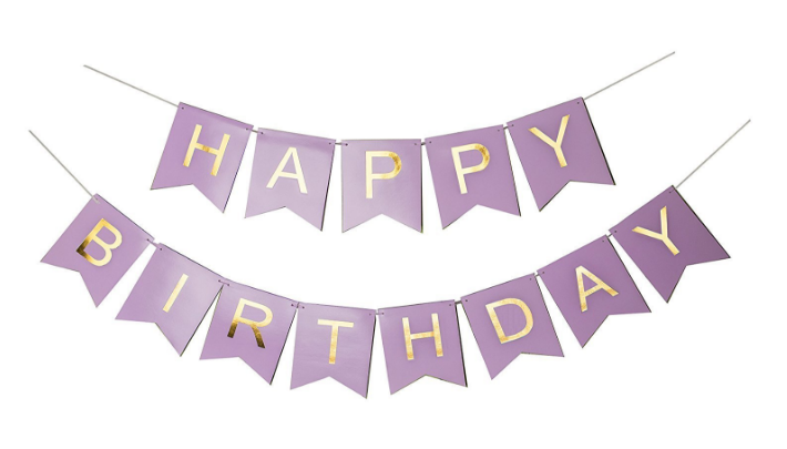sonder co happy birthday banner purple and gold foil letters
