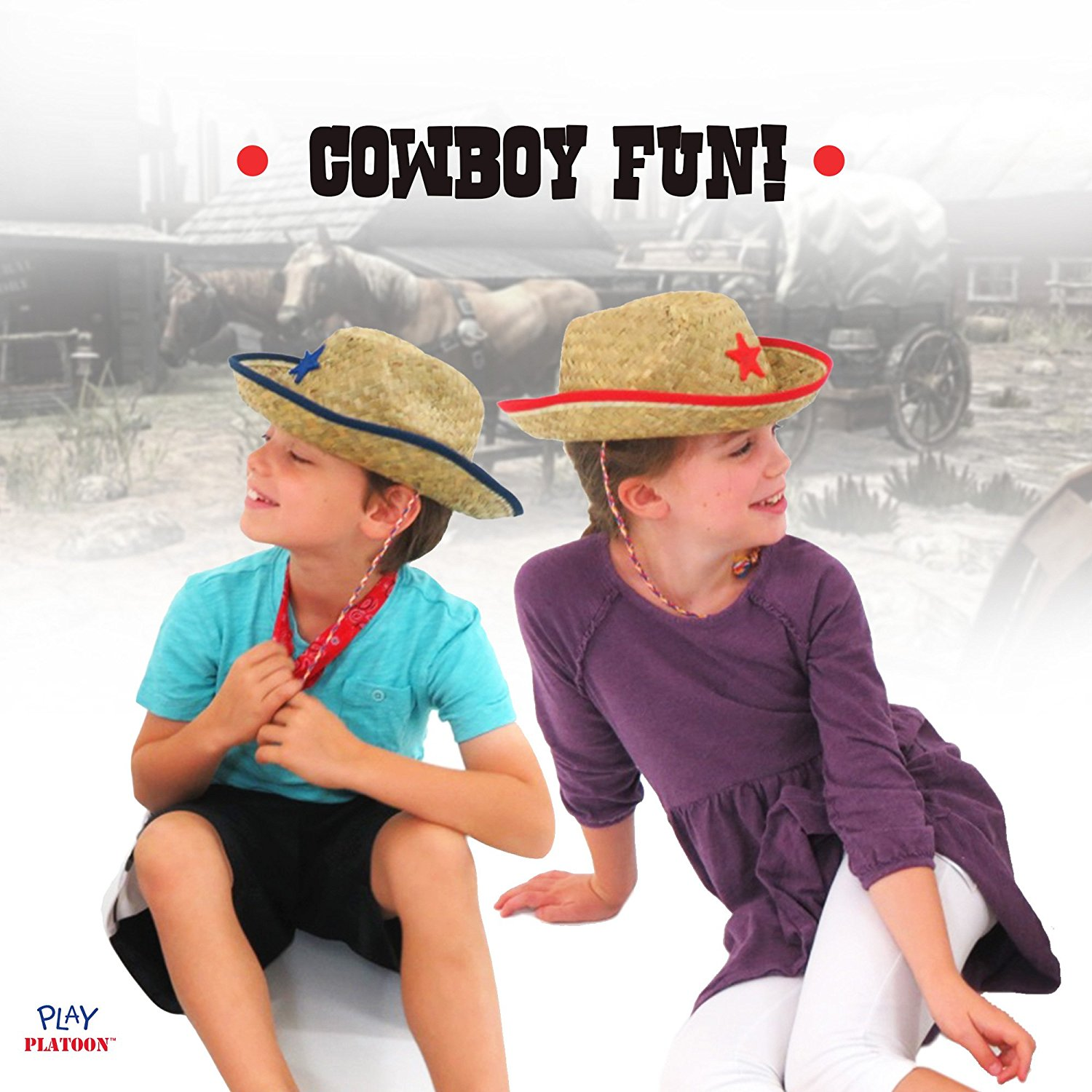 f03612a7882 Dozen Straw Cowboy Hats for Kids – Makes Great Birthday Party Hats ...