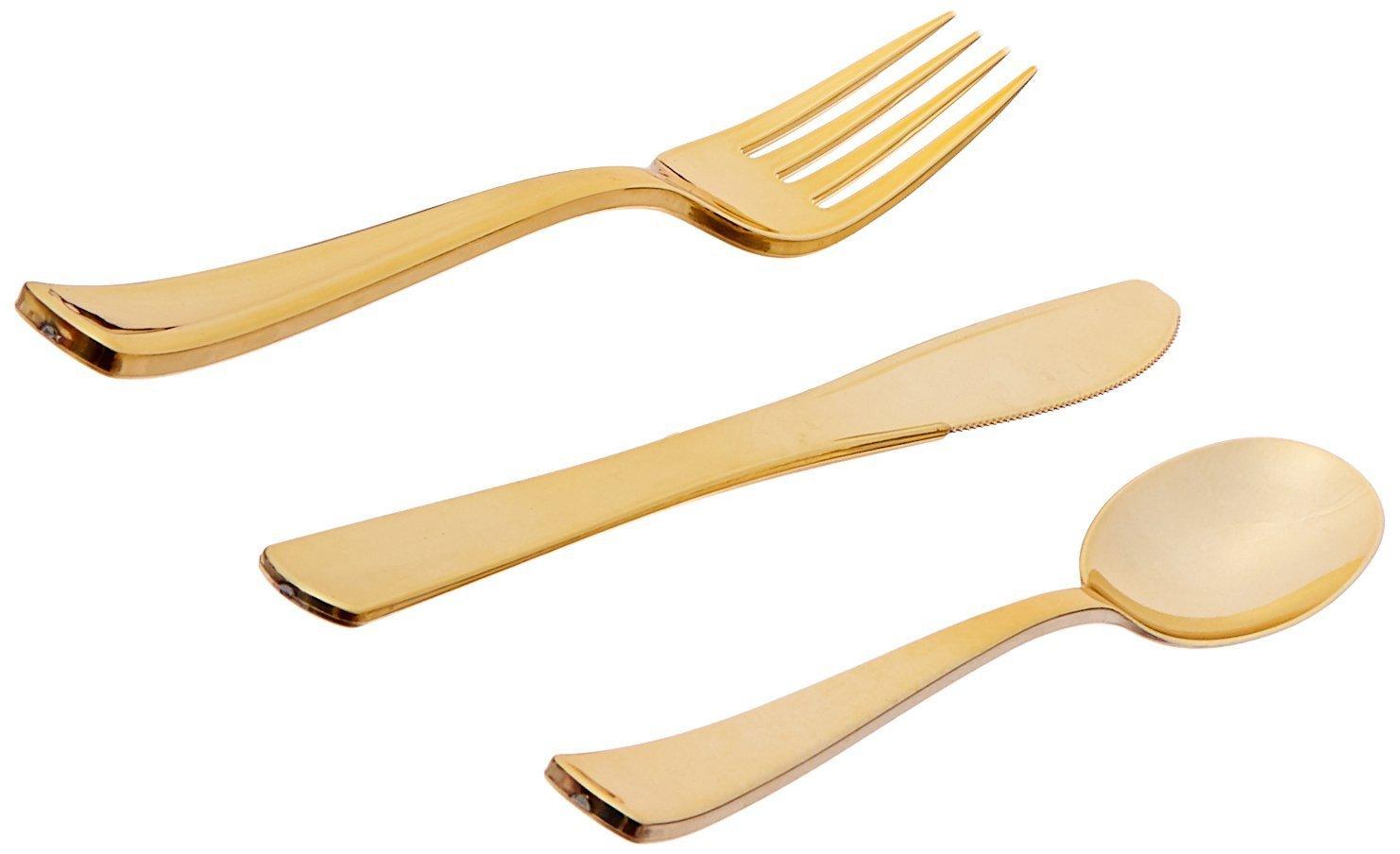 Green Direct Gold Plastic Cutlery Set