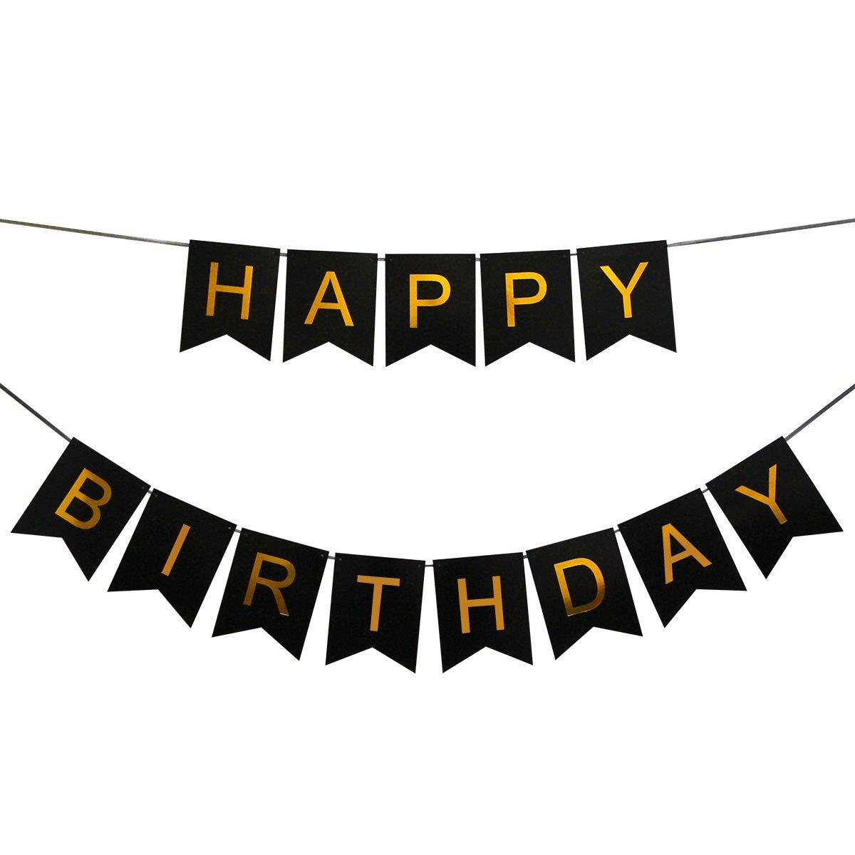 Word Wall Art Stickers Innoru Tm Happy Birthday Banner Black And Gold Birthday