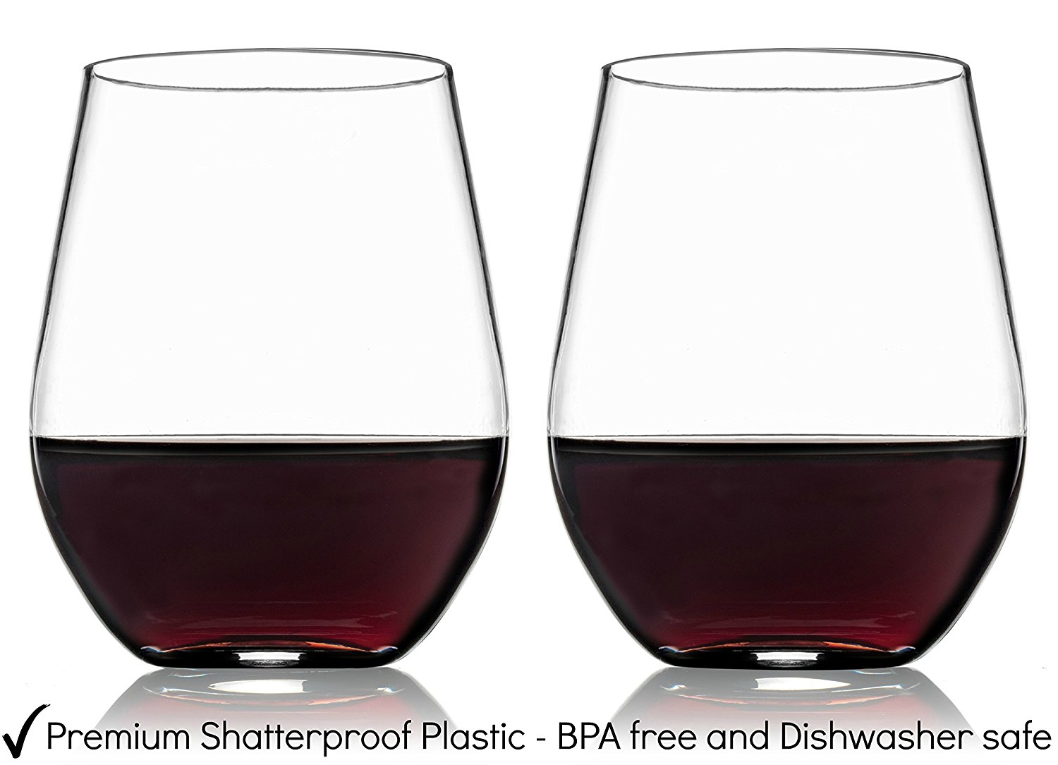 d4d579eaa1d KATYK Unbreakable BPA Free Clear Plastic Stemless Wine Glasses ...