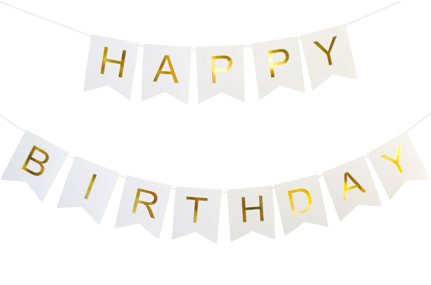 Kaluc Happy Birthday Banner White And Gold Birthday Decorations And