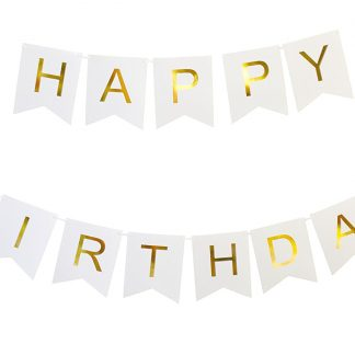 Keira Prince Happy Birthday Banner Chic White And Gold Party Decorations Versatile Beautiful Swallowtail Bunting Flag Garland