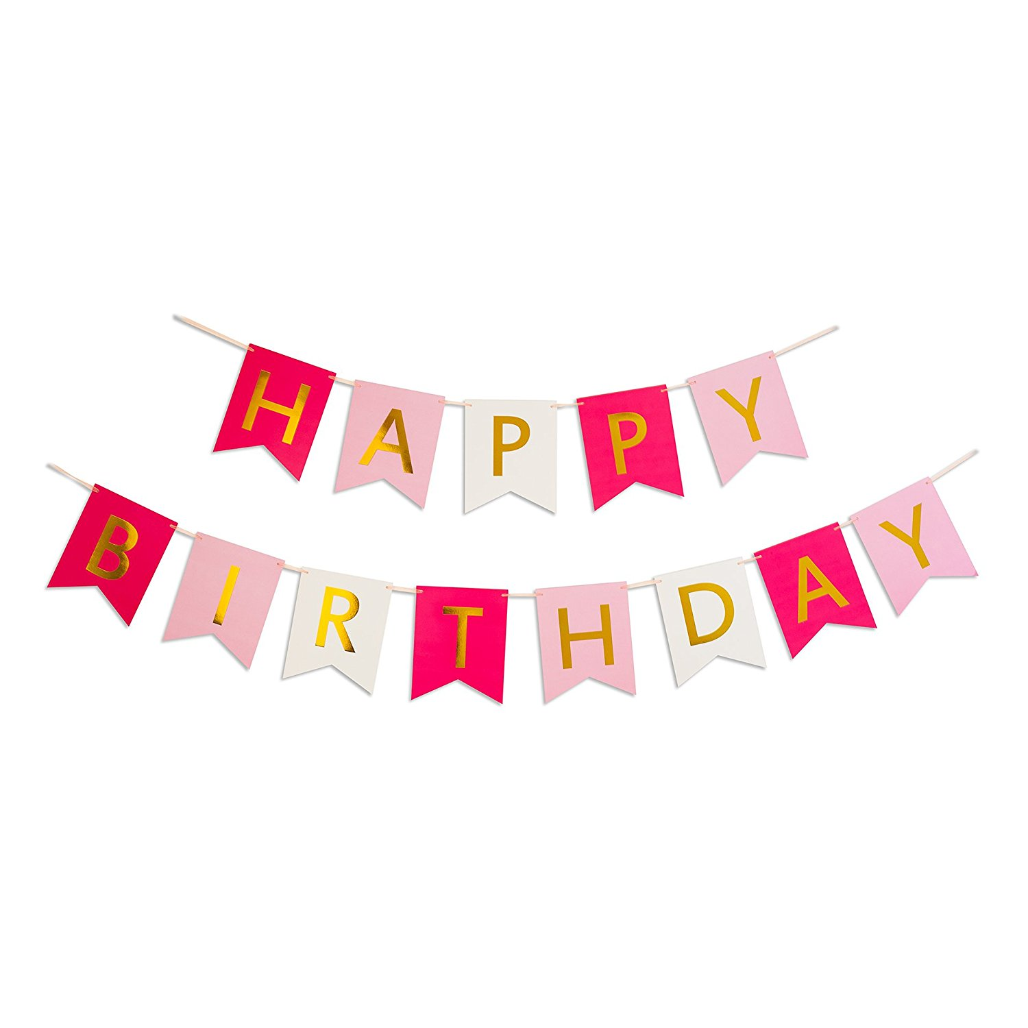 Keira Prince Happy Birthday Banner, Hot Pink, Pastel Pink
