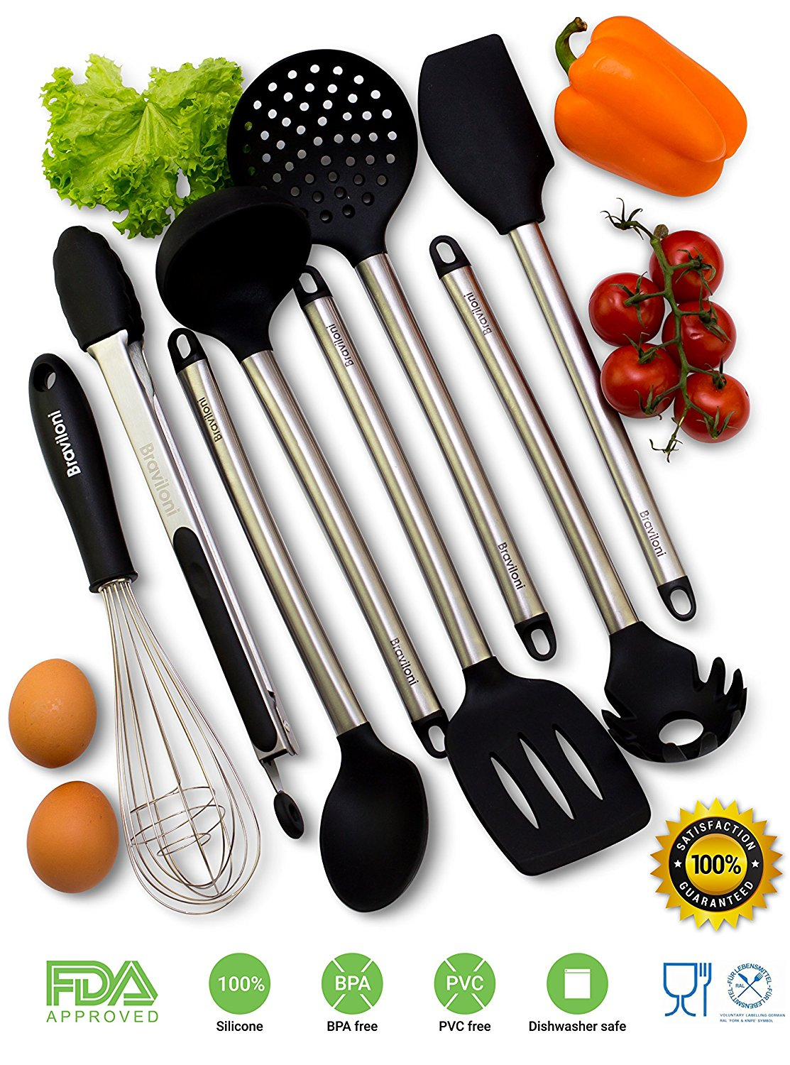 Kitchen Utensils – 8 Piece Cooking Utensils – Nonstick Utensil Set ...
