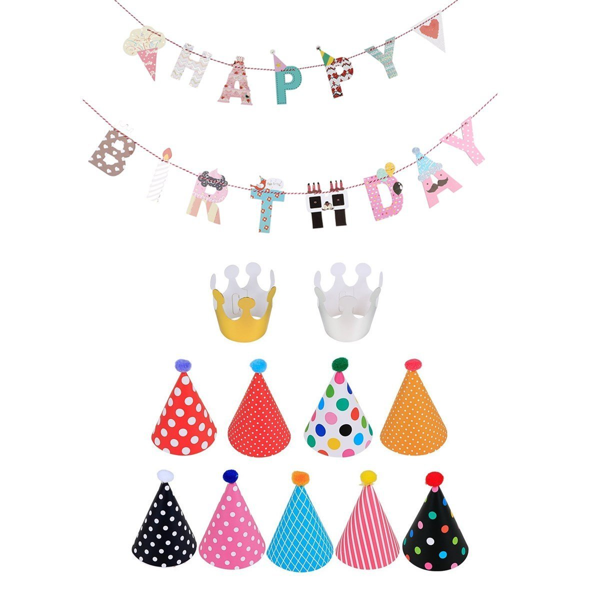 leesky birthday party hats and colorful happy birthday