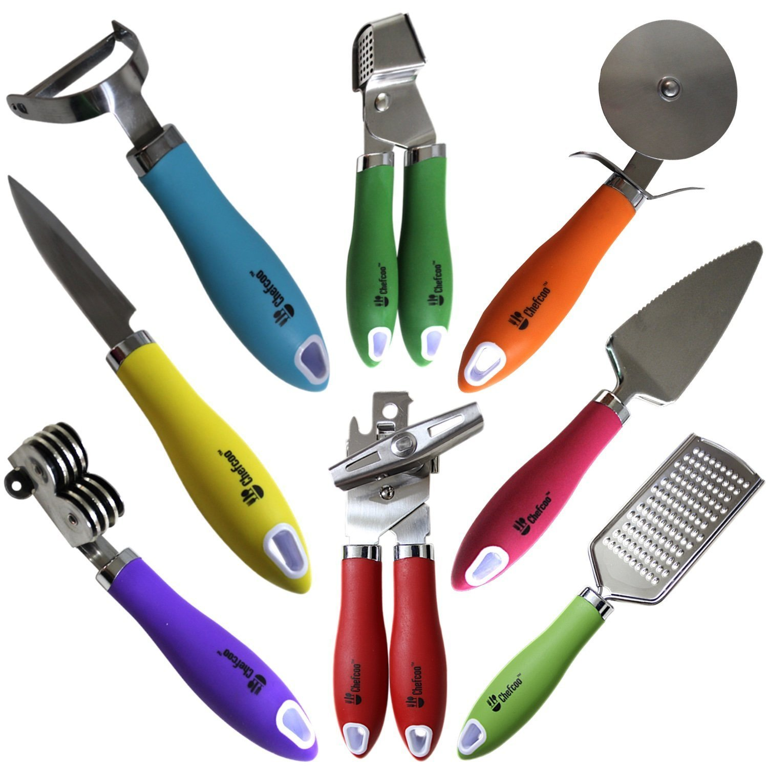 8 Pieces Kitchen Gadget Tools Set by Chefcoo™ - Stainless-Steel Utensils  Chef Cooking Set - Peeler, Knife, Pie Server, Can Opener, Pizza Cutter, ...