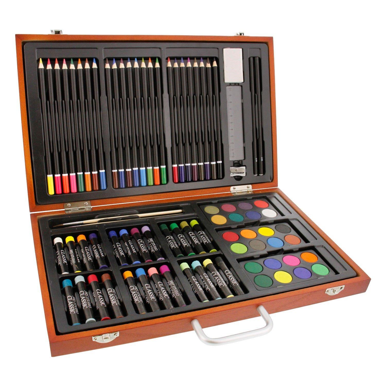 US Art Supply 82 Piece Deluxe Art Creativity Set In Wooden