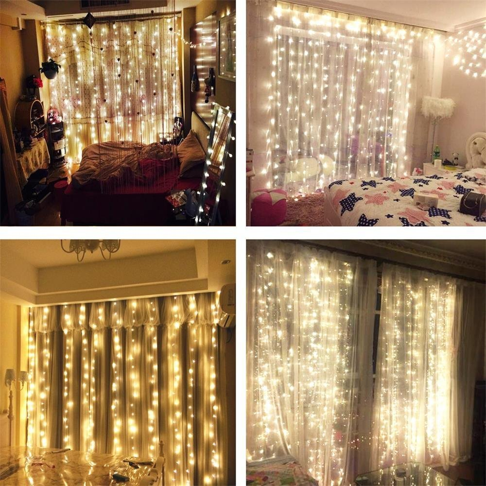 String Led Lights For Bedroom : AMARS Safe Voltage Bedroom String LED Curtain Lights Waterfall Window Lights Outdoor Indoor LED ...