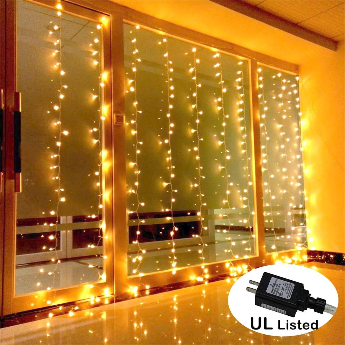 Amars Safe Voltage Bedroom String Led Curtain Lights Waterfall Window Outdoor Indoor For Wedding Party Home Living Room Warm