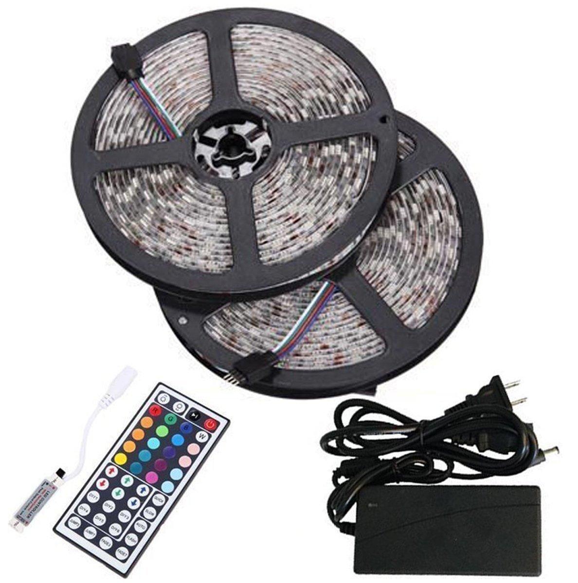 innovative design 3e15b 0465c BMOUO 2 Reels 12V 32.8ft Waterproof Flexible RGB LED Strip Light Kit,  Multi-colored, SMD5050 300 LEDs, LED Strip Kit & MINI 44-key IR Controller  + 12V ...