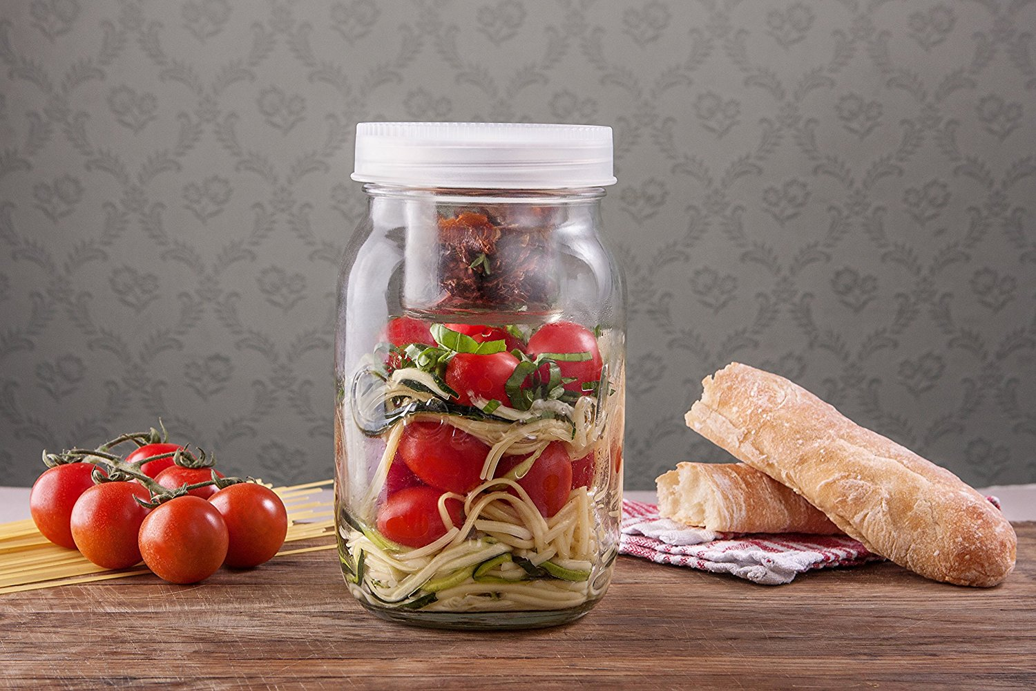 85537577d355 Consol 2-in-1 Classic Mason Glass Jar with a Smaller Jar Inside with One  Leak Proof Lid, 34 oz., Blue