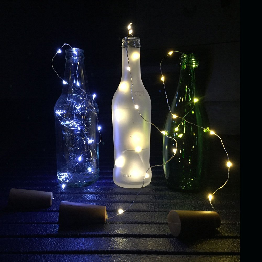 cork lights for wine bottles 6 pack bizoerade 30inch 75cm 15 led copper wire lights string starry led lights for bottle diy party decor christmas