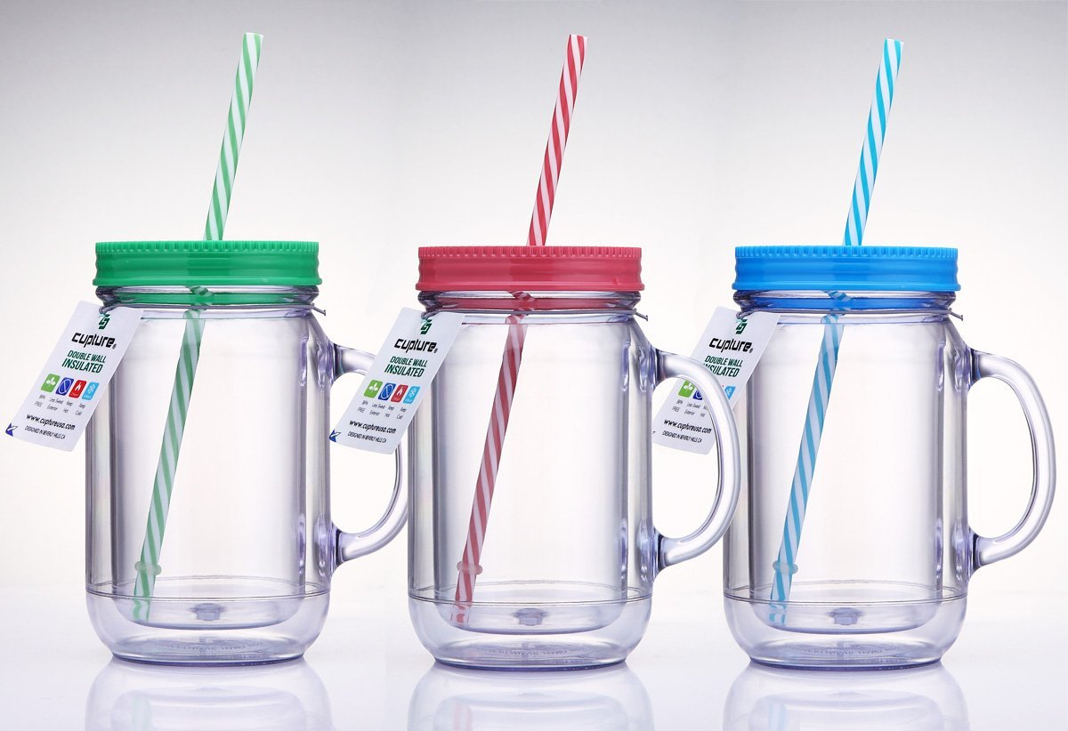 Cupture Double Wall Insulated Plastic Mason Jar Tumbler Mug with Striped  Straws - 20 oz, 3 Pack
