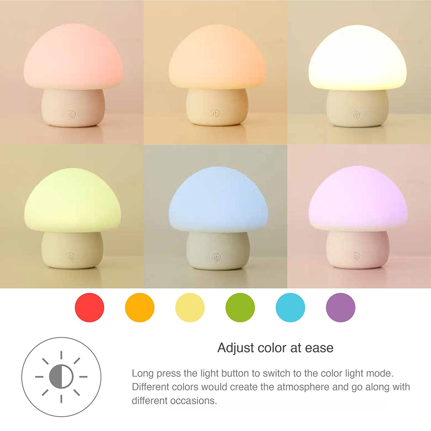 Emoi Multicolor Led Baby Night Light Portable Silicone Cute