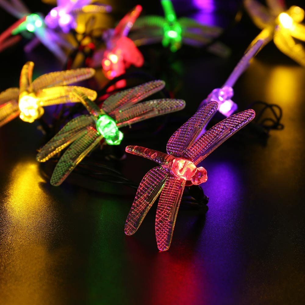 Icicle Dragonfly Solar String Lights, 16ft 20 LED 8 Modes Waterproof Fairy Lighting for Indoor ...