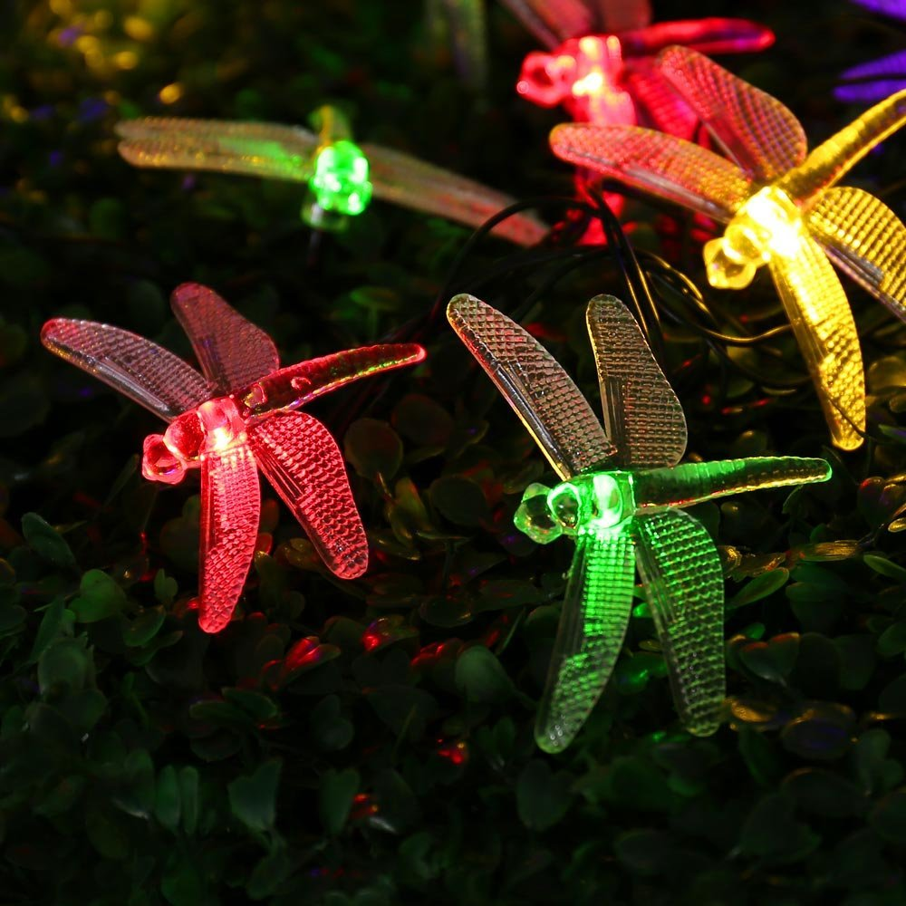 Icicle Dragonfly Solar String Lights 16ft 20 Led 8 Modes Waterproof Fairy Lighting