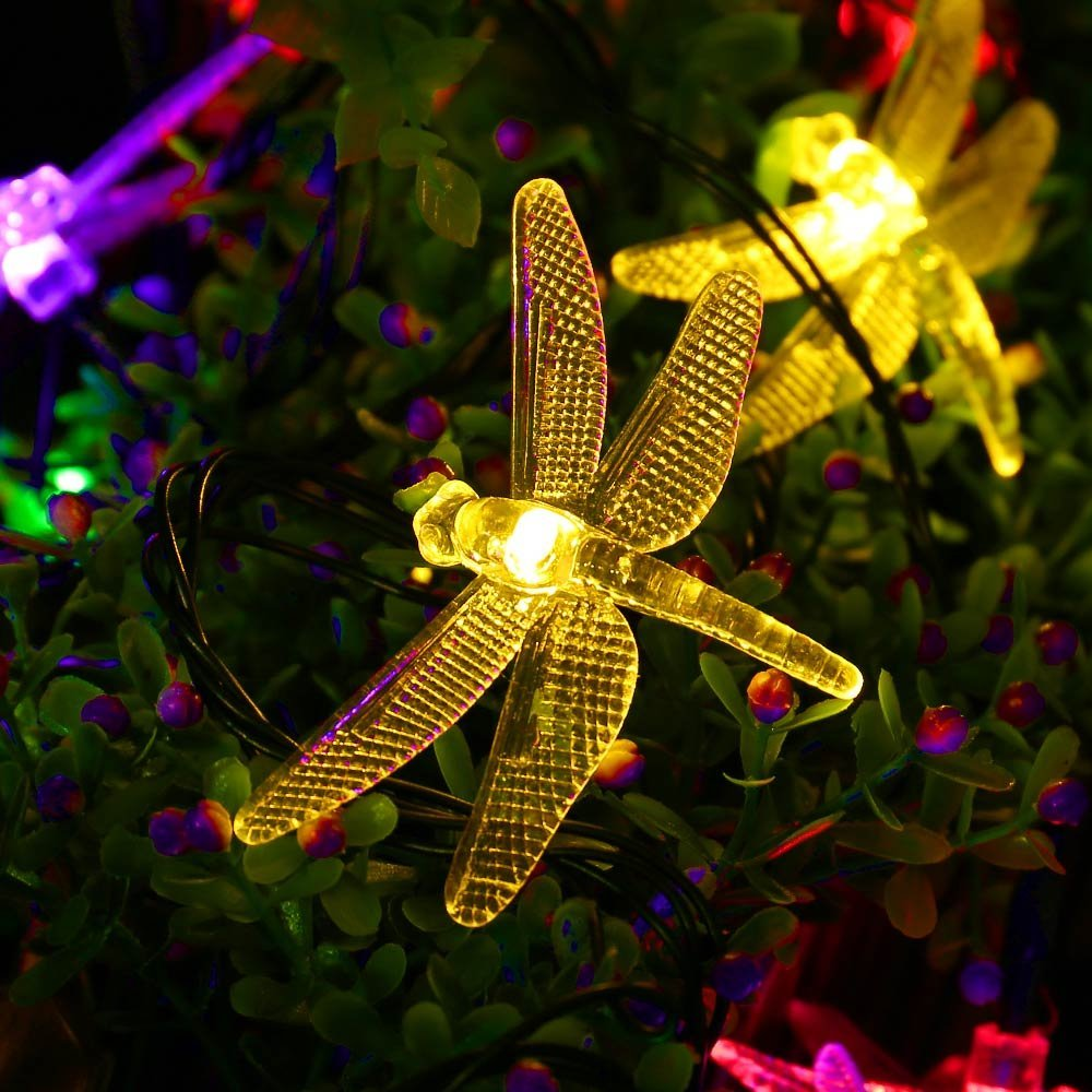 icicle dragonfly solar string lights 16ft 20 led 8 modes waterproof