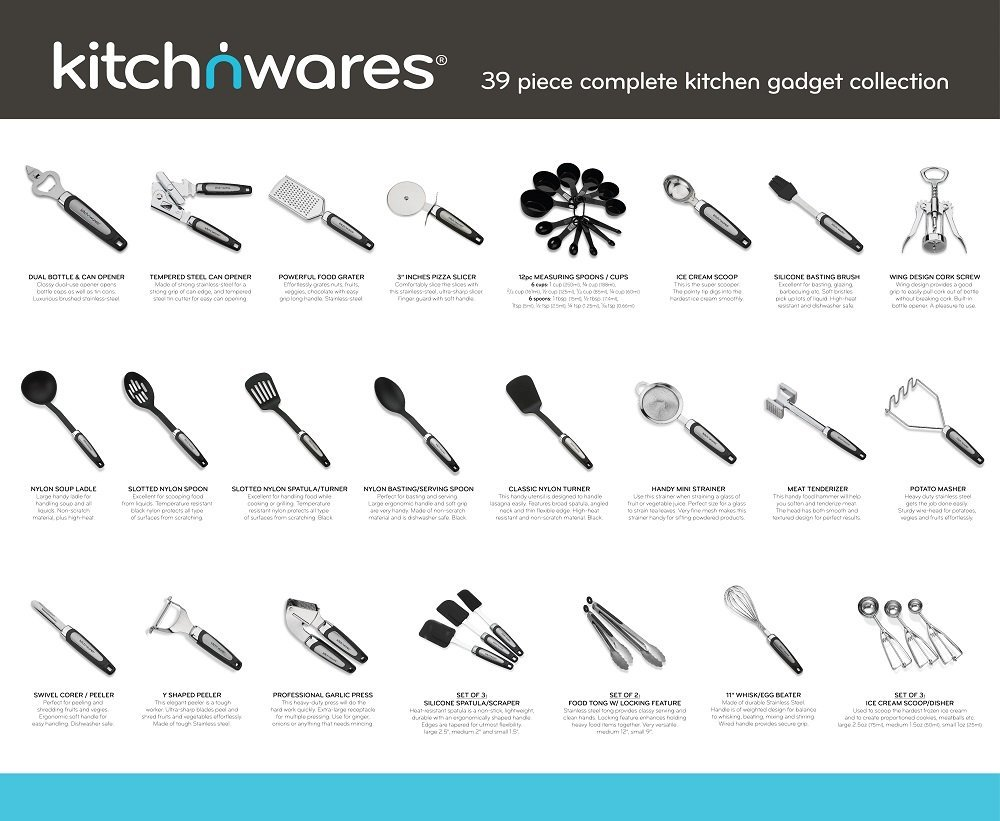 Kitchen utensils sets 39 pieces stainless steel and nylon for Kitchen set rate