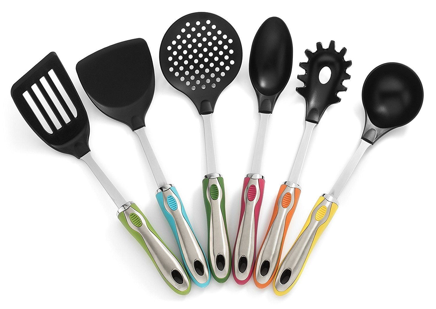 Etonnant Kitchen Utensils With Holder 7 Pc Cute Utensil Set U2013 Colorful Handles,  Stainless Steel Core And Large Nylon Heads By RSG U2013 Party Supply Factory