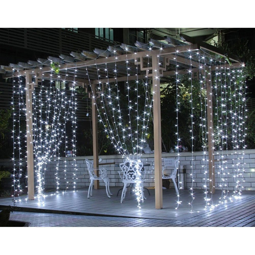 Le Led Window Curtain Icicle Lights 306 String Fairy 9 8ft X 8 Modes Daylight White Christmas Thanksgiving Wedding Party Backdrops