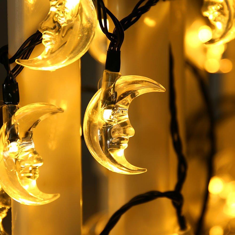 LuckLED Original Moon Solar String Lights, 20ft 30 LED