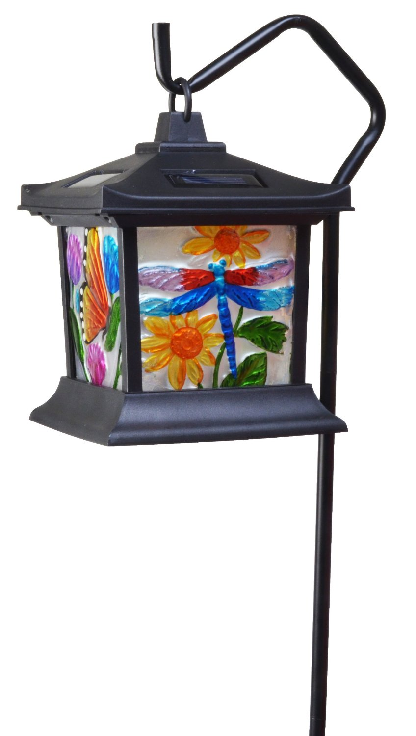 moonrays 92276 solar powered hanging floral stained glass led light party supply factory. Black Bedroom Furniture Sets. Home Design Ideas